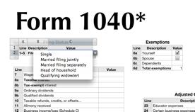 f1040 spreadsheet screenshot (reduced)
