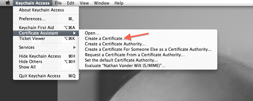 Self-signed S/MIME certificate creation, figure 1