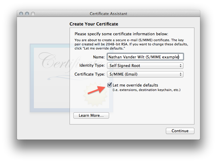Self-signed S/MIME certificate creation, figure 2