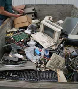 A pile of old electronics junk on its way to the salvage yard.